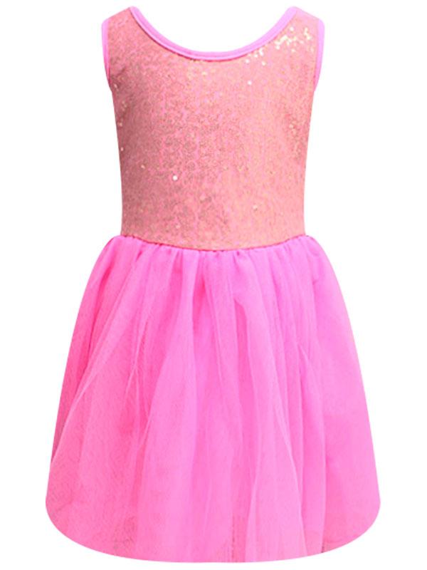 """01216 Платье """"пайетки"""" розовый"""