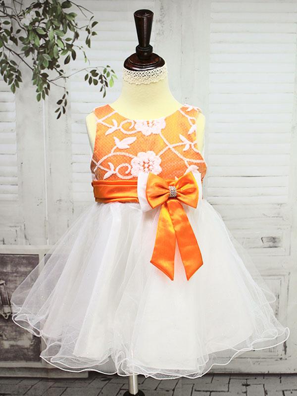 01272 Платье оранжевый=белый