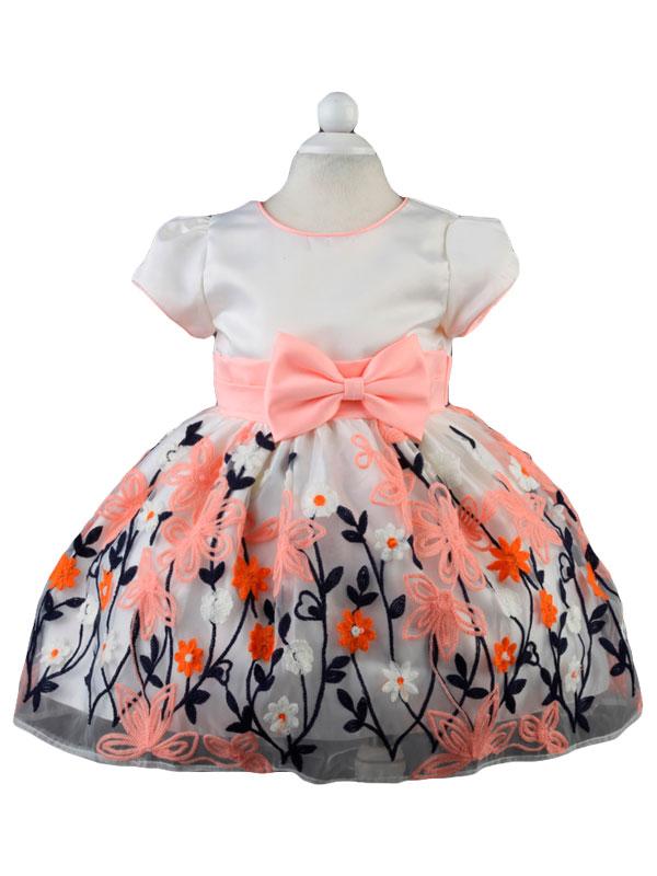"""01276 Платье """"Вышивка"""" розовый бант"""