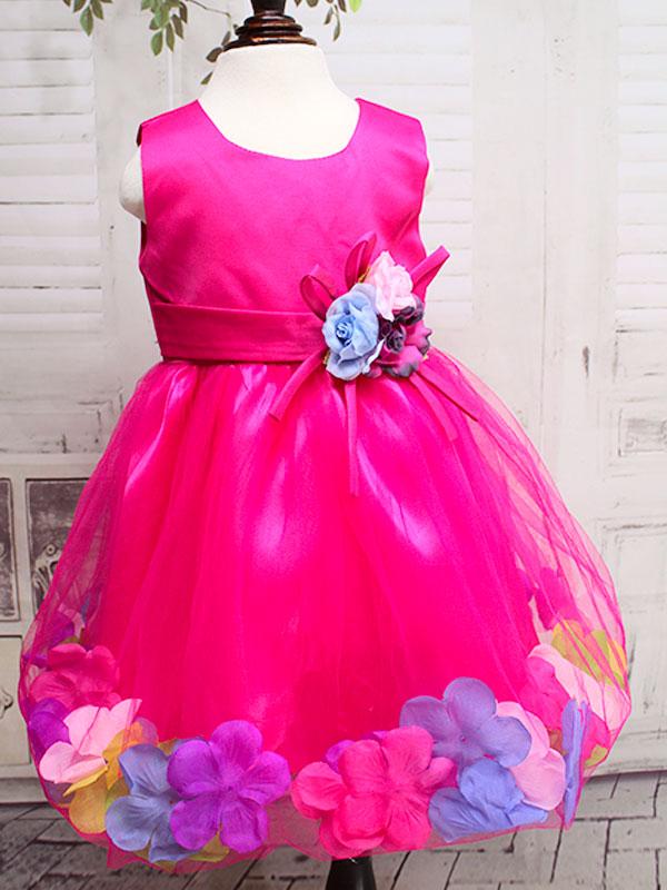 """01297 Платье""""Цветы"""" яр.розовый"""